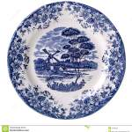 Top View White Plate With Printed Blue Flowers Stock Image Image Of Dish Ceramics 25360031