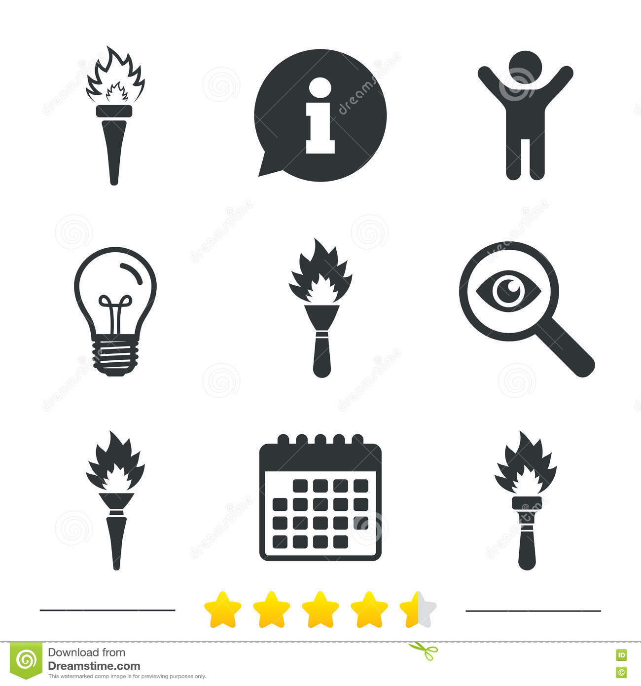 Torch Flame Icons Fire Flaming Symbols Stock Vector