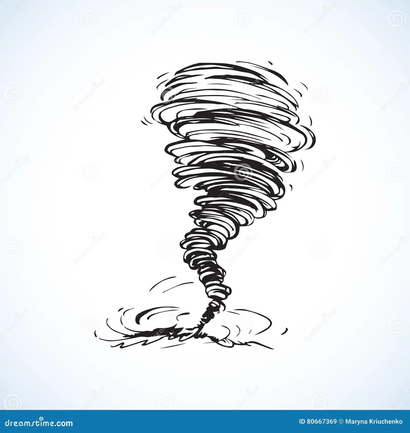 Tornado Vector Tekening Vector Illustratie Illustratie