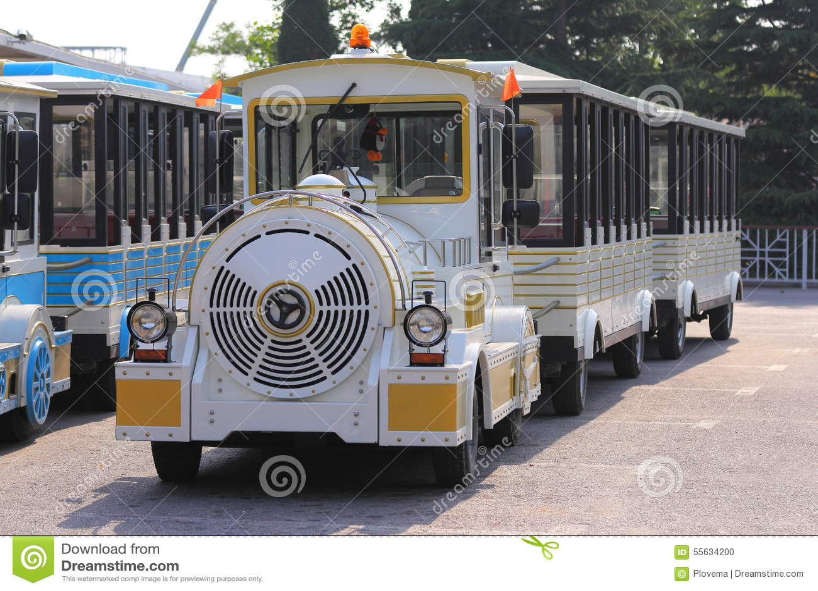 Tour Bus Like A Small Train Stock Photo