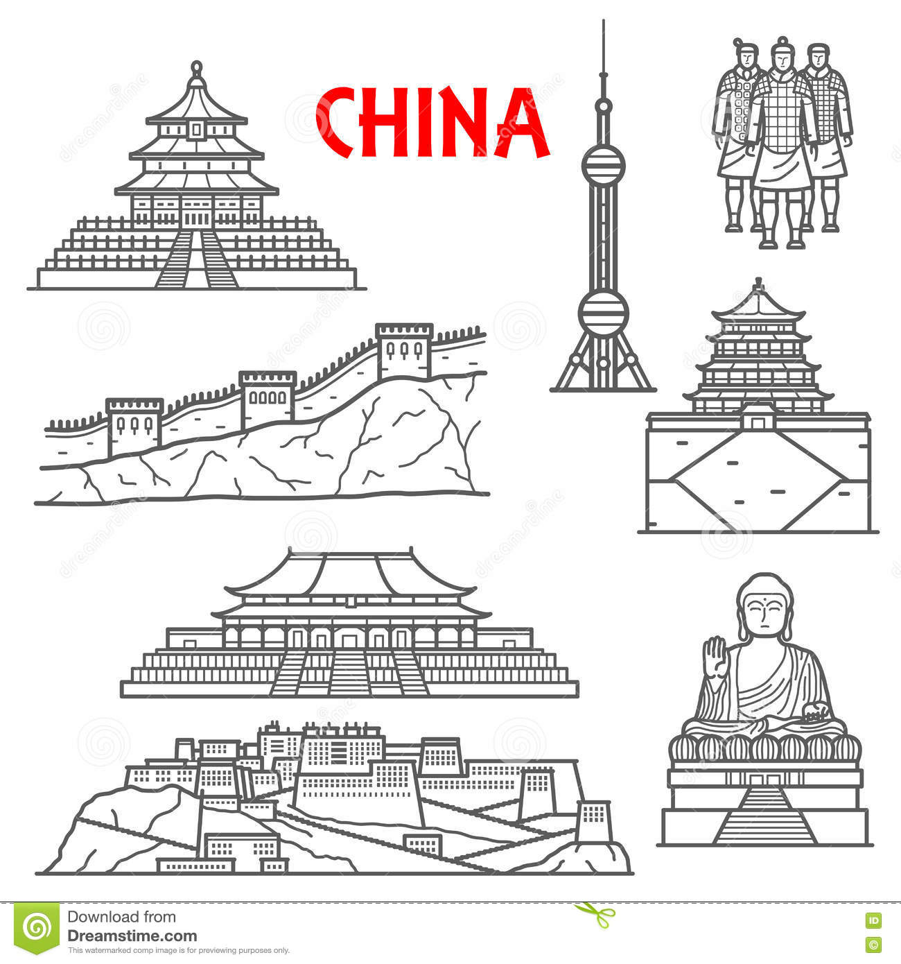 Tourist Attractions Of China Icon Thin Line Style Stock