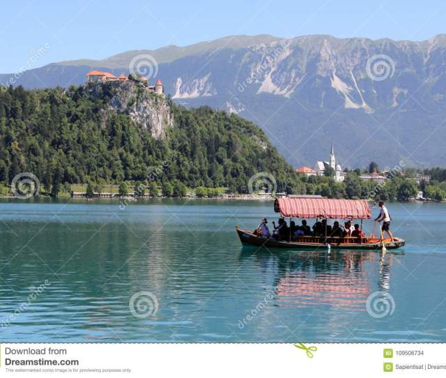 Download Tourist Boat On Bled Lake Slovenia Editorial Stock Image Image Of Vacation