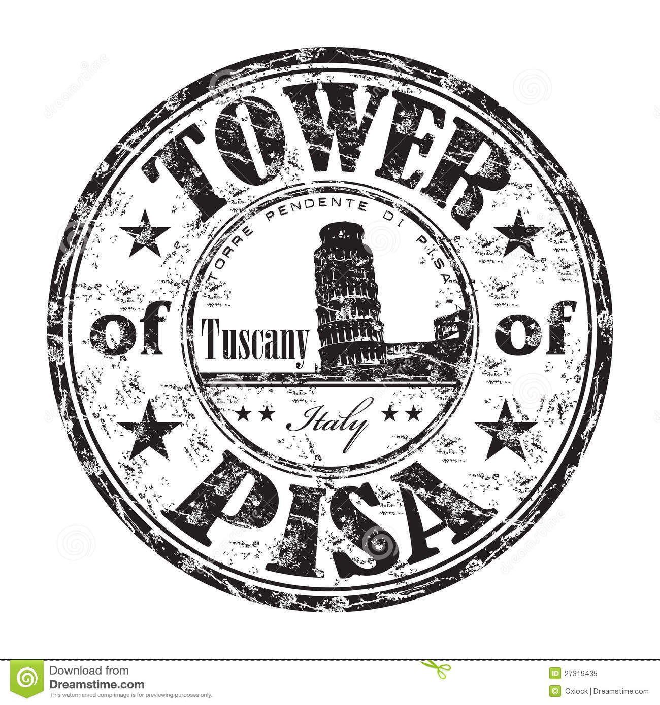 The Tower Of Pisa Rubber Stamp Stock Vector