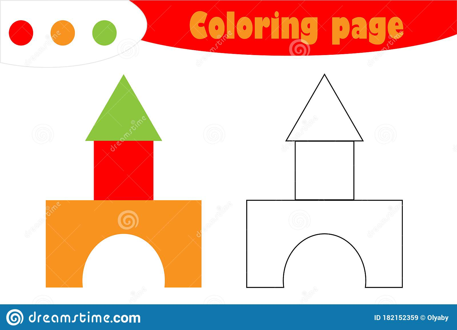 Toy Blocks In Cartoon Style Coloring Page Education