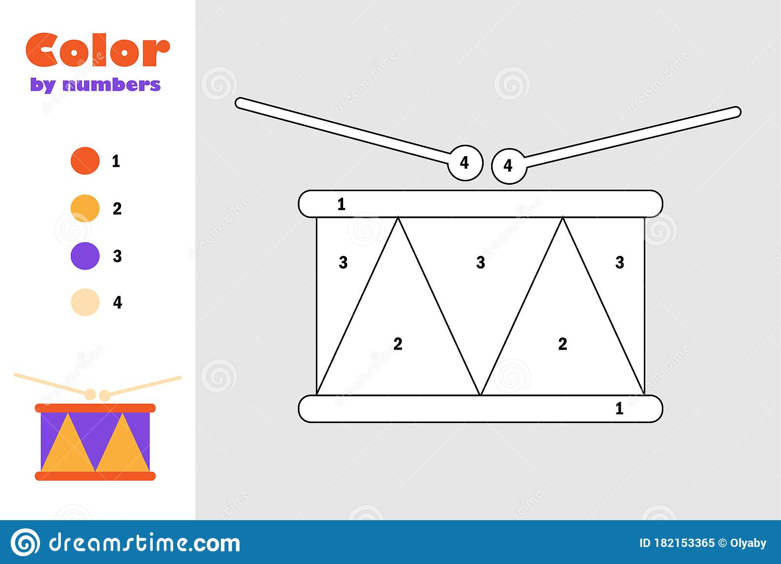 Toy Drum In Cartoon Style Color By Number Education