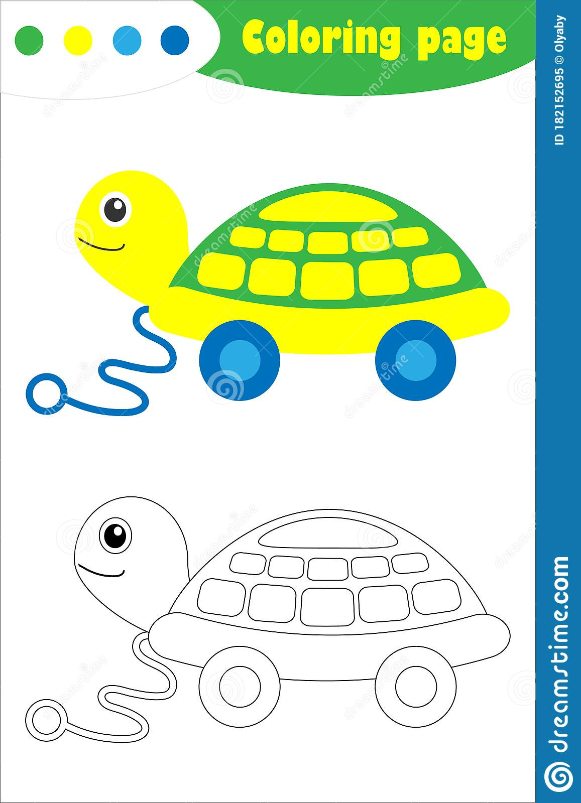 Toy Turtle In Cartoon Style Coloring Page Education