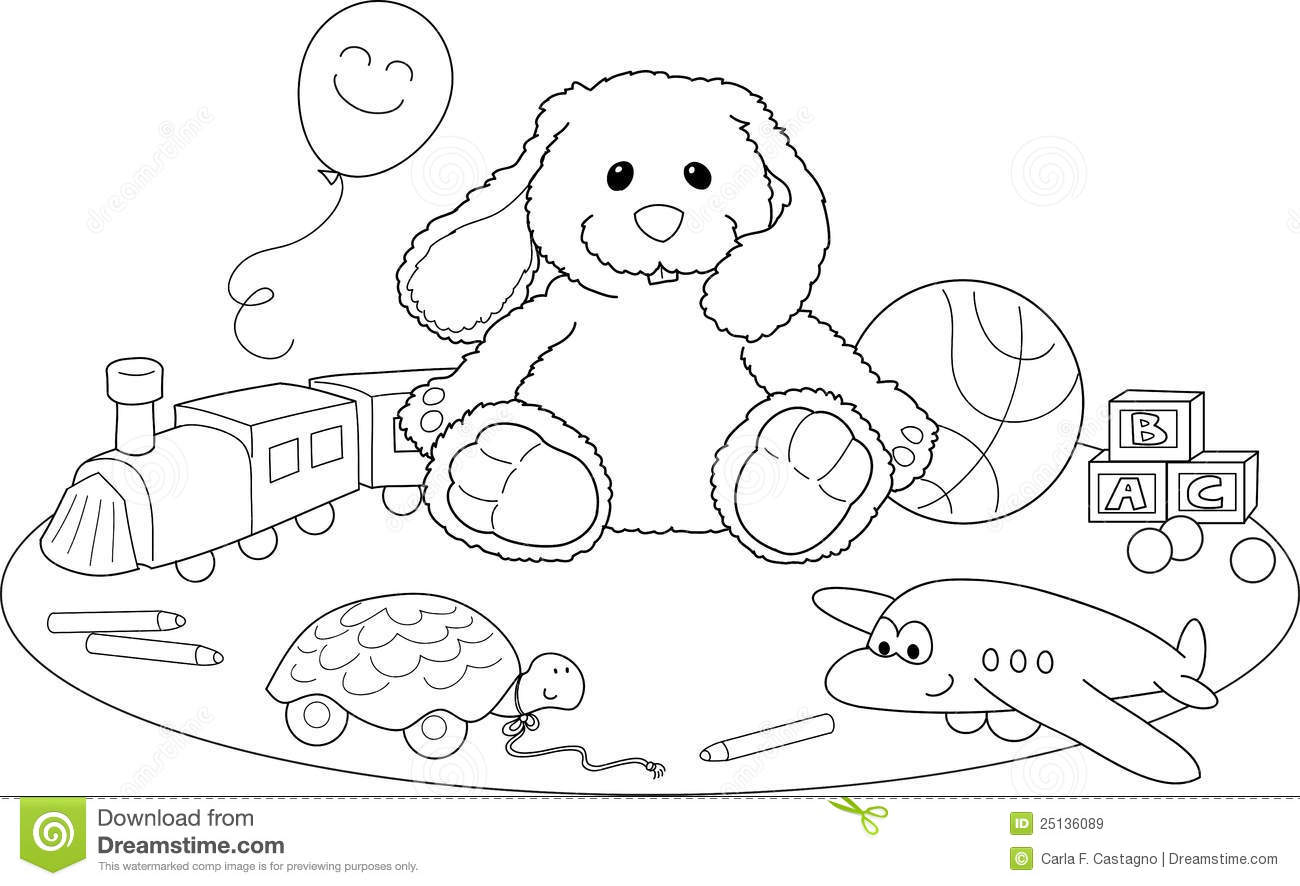 Toys Coloring Vector Stock Vector Illustration Of Cute