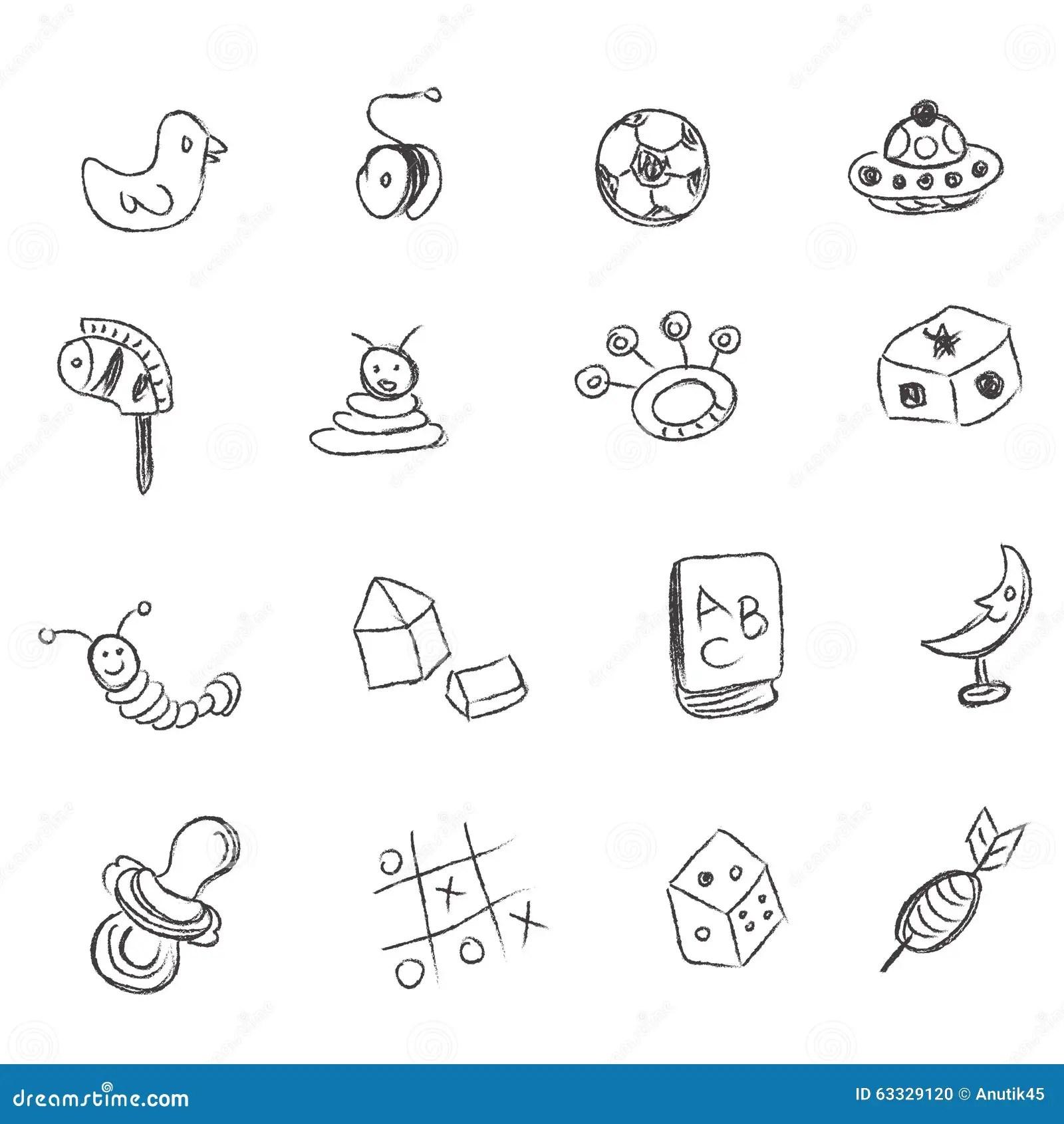 Toys Sketch Icons Set Cartoon Vector