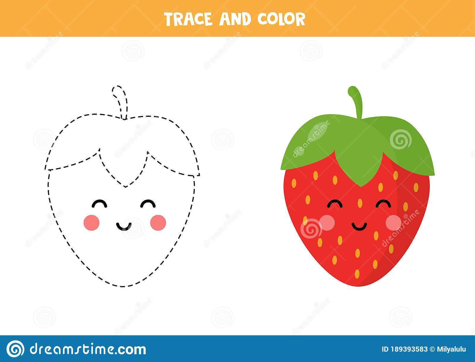 Trace And Color Cute Kawaii Strawberry Educational
