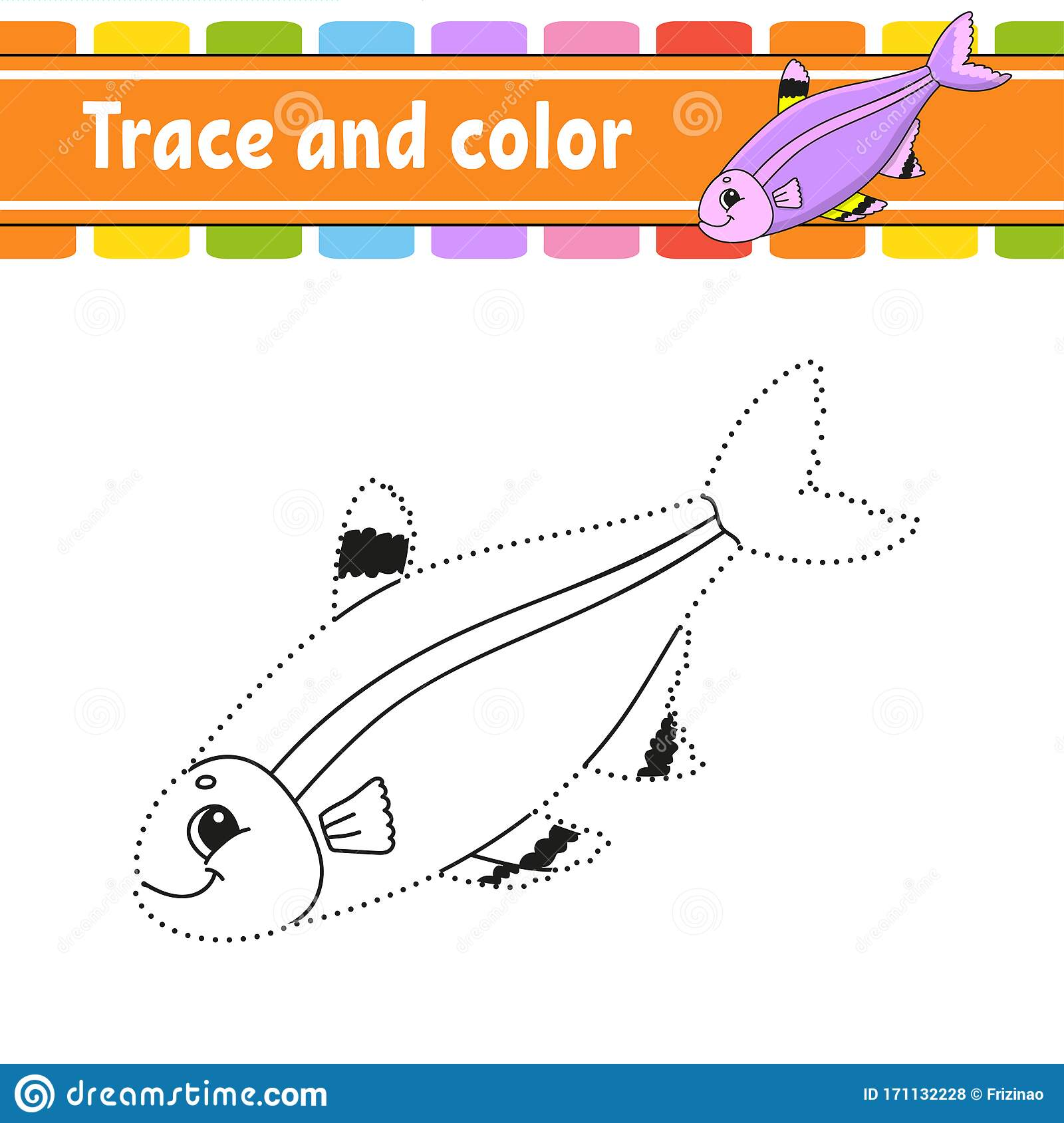 Trace And Color Fish Coloring Page For Kids Handwriting