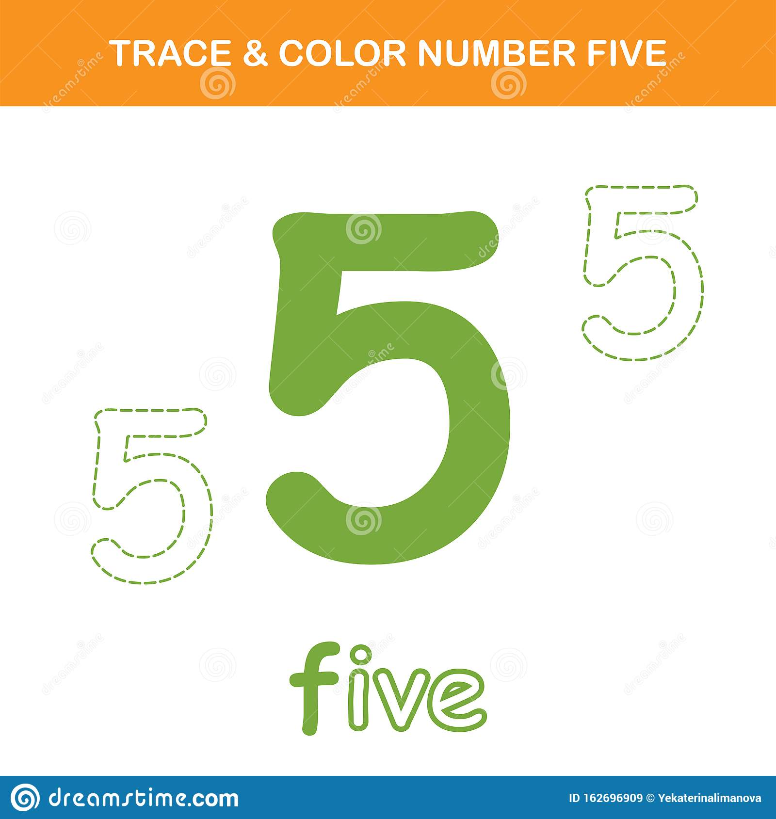 Trace Amp Color Number 5 Worksheet Stock Vector