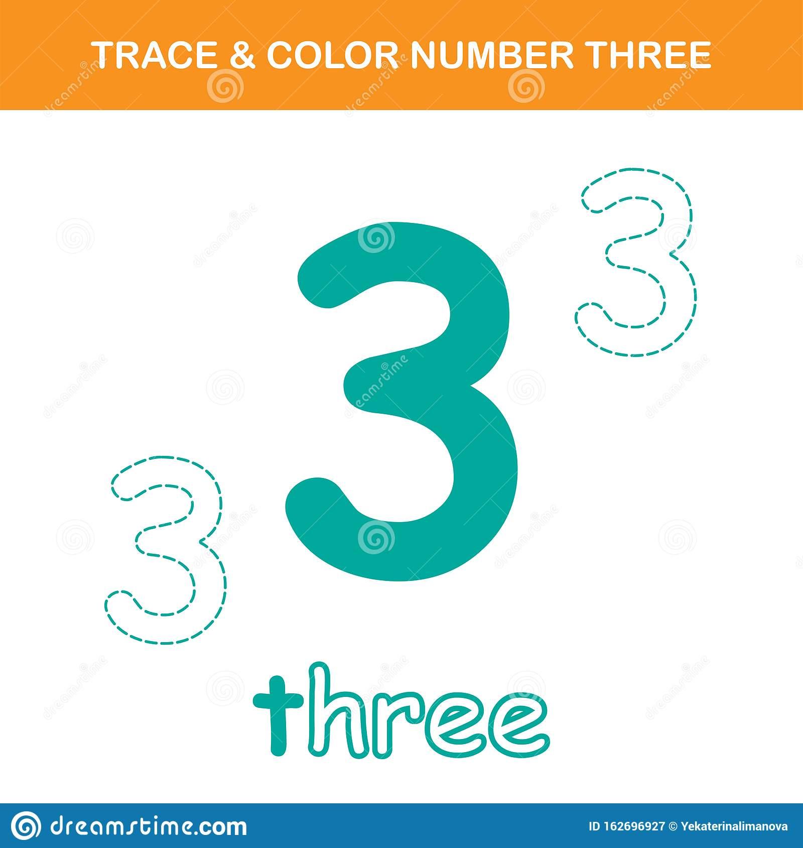 Trace Amp Color Number 3 Worksheet Stock Vector