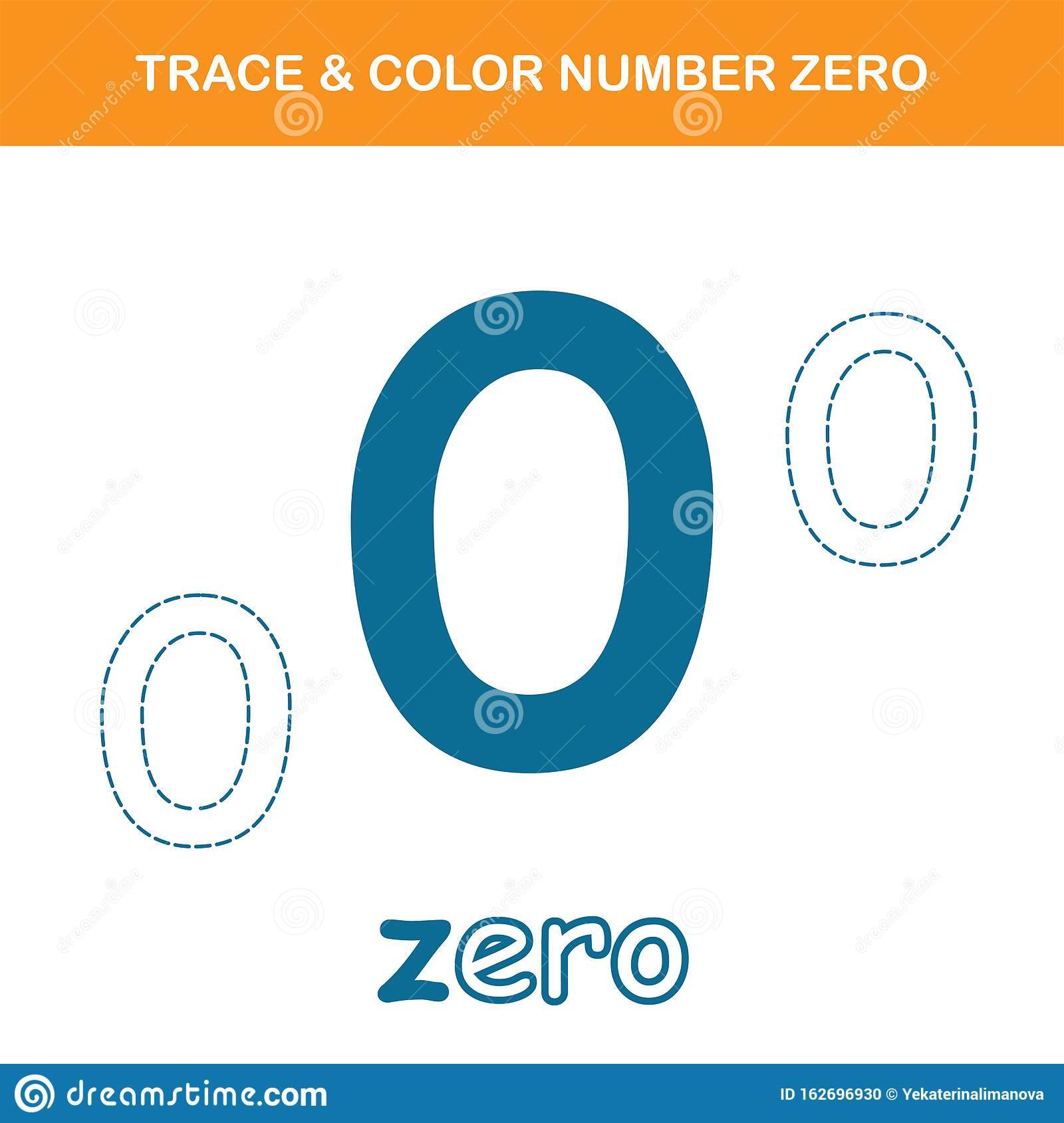 Trace Amp Color Number 0 Worksheet Stock Vector