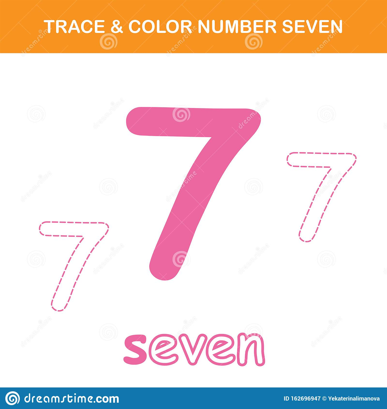 Trace Amp Color Number 7 Worksheet Stock Vector