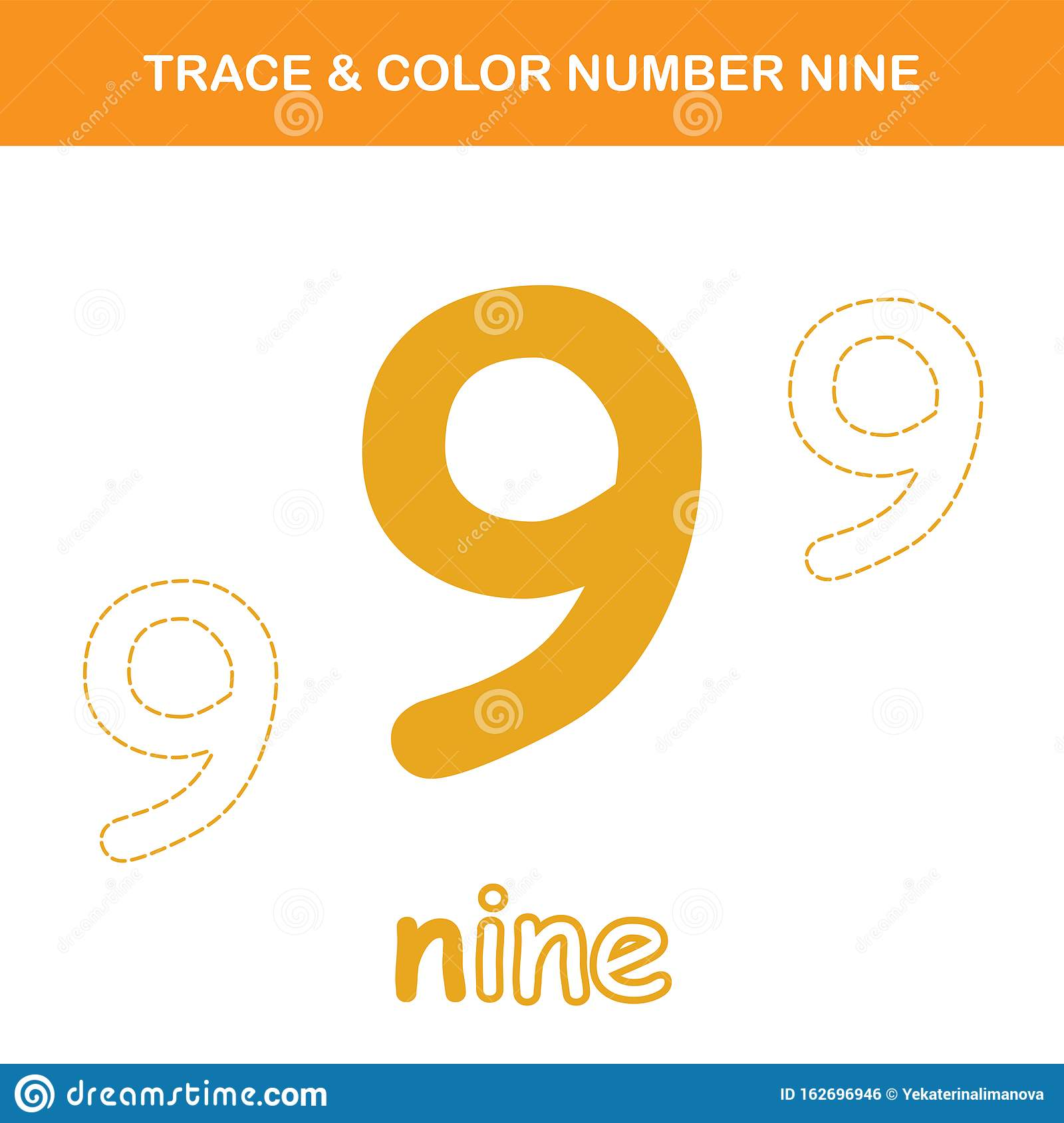 Trace Amp Color Number 9 Worksheet Stock Vector