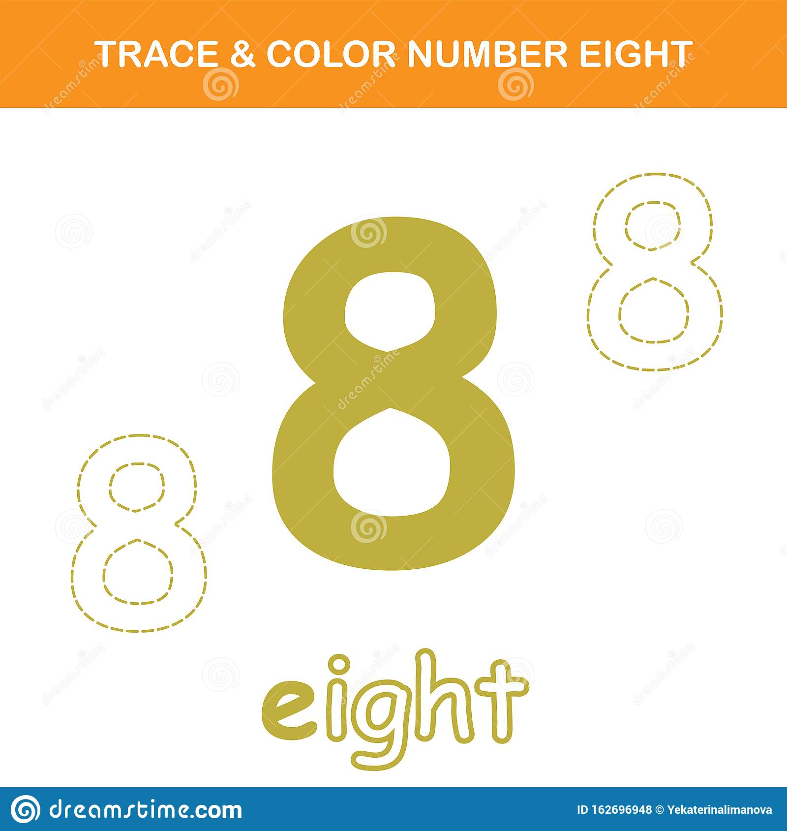 Trace Amp Color Number 8 Worksheet Stock Vector