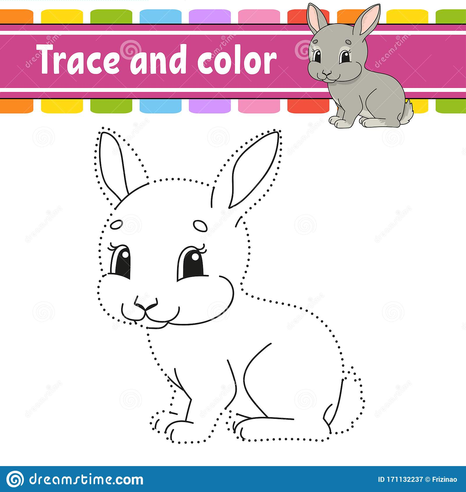 Trace And Color Rabbit Bunny Animal Coloring Page For
