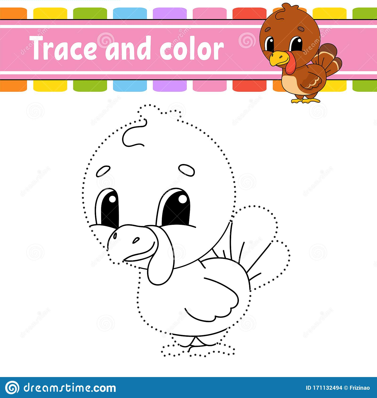Trace And Color Turkey Bird Coloring Page For Kids