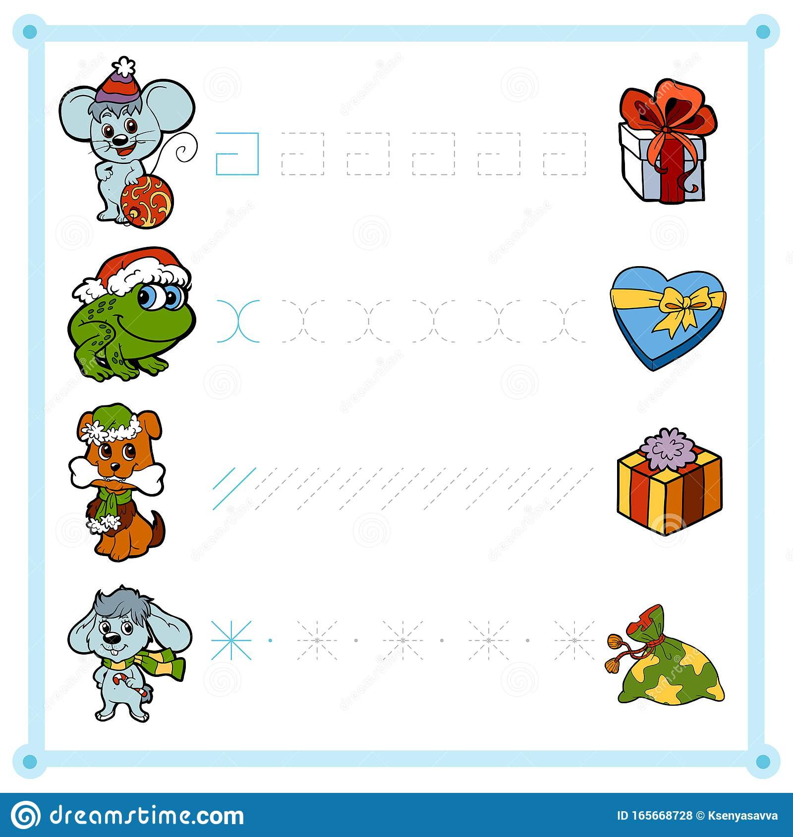 Trace The Dotted Lines From Christmas Animals To Ts