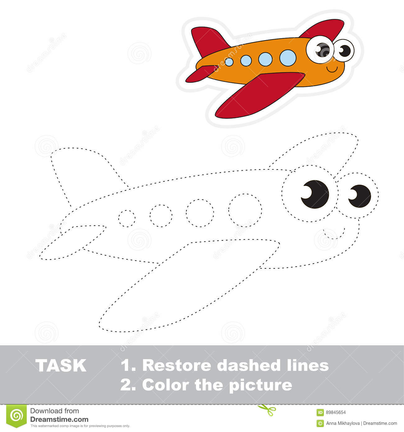 Trace Game For Kid Toy Transport Stock Vector