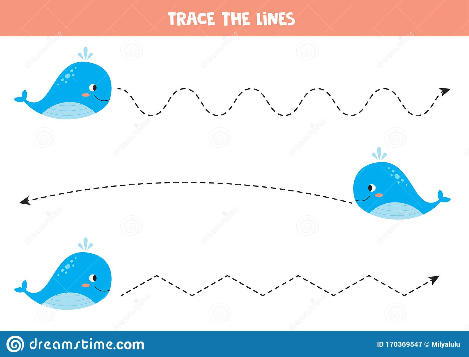 Trace Line With Blue Whale Handwriting Practice For Kid