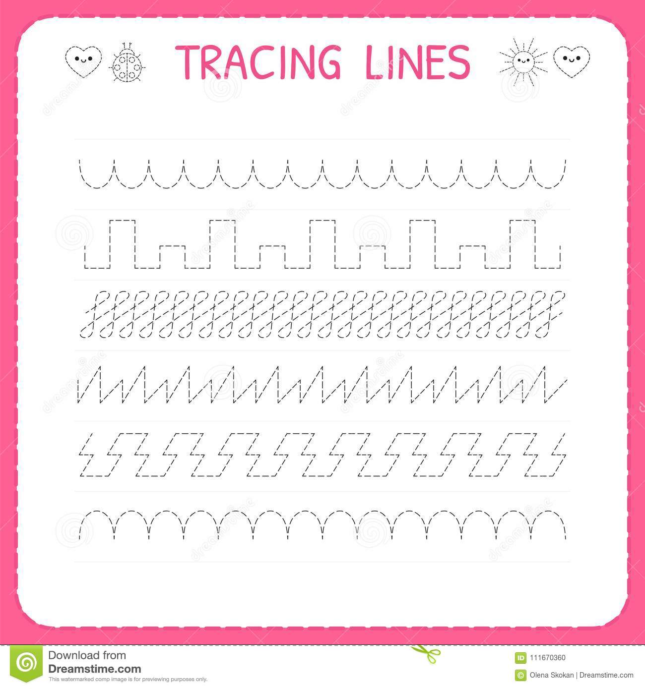 Trace Line Worksheet For Kids Trace The Pattern Working