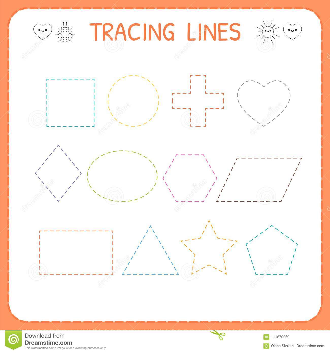 Trace Line Worksheet For Kids Working Pages For Children Preschool Or Kindergarten Worksheet