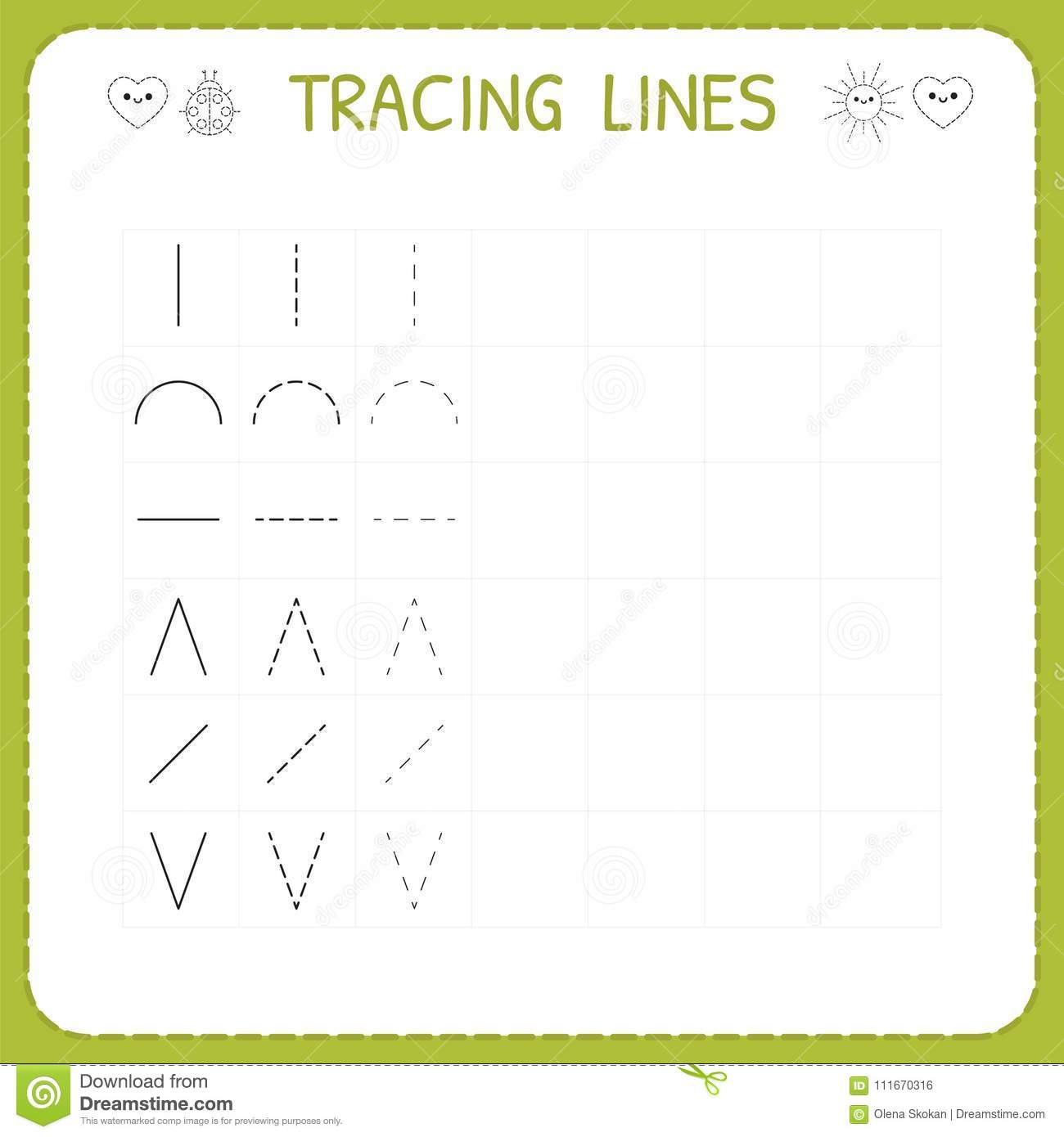 Trace Line Worksheet For Kids Working Pages For Children