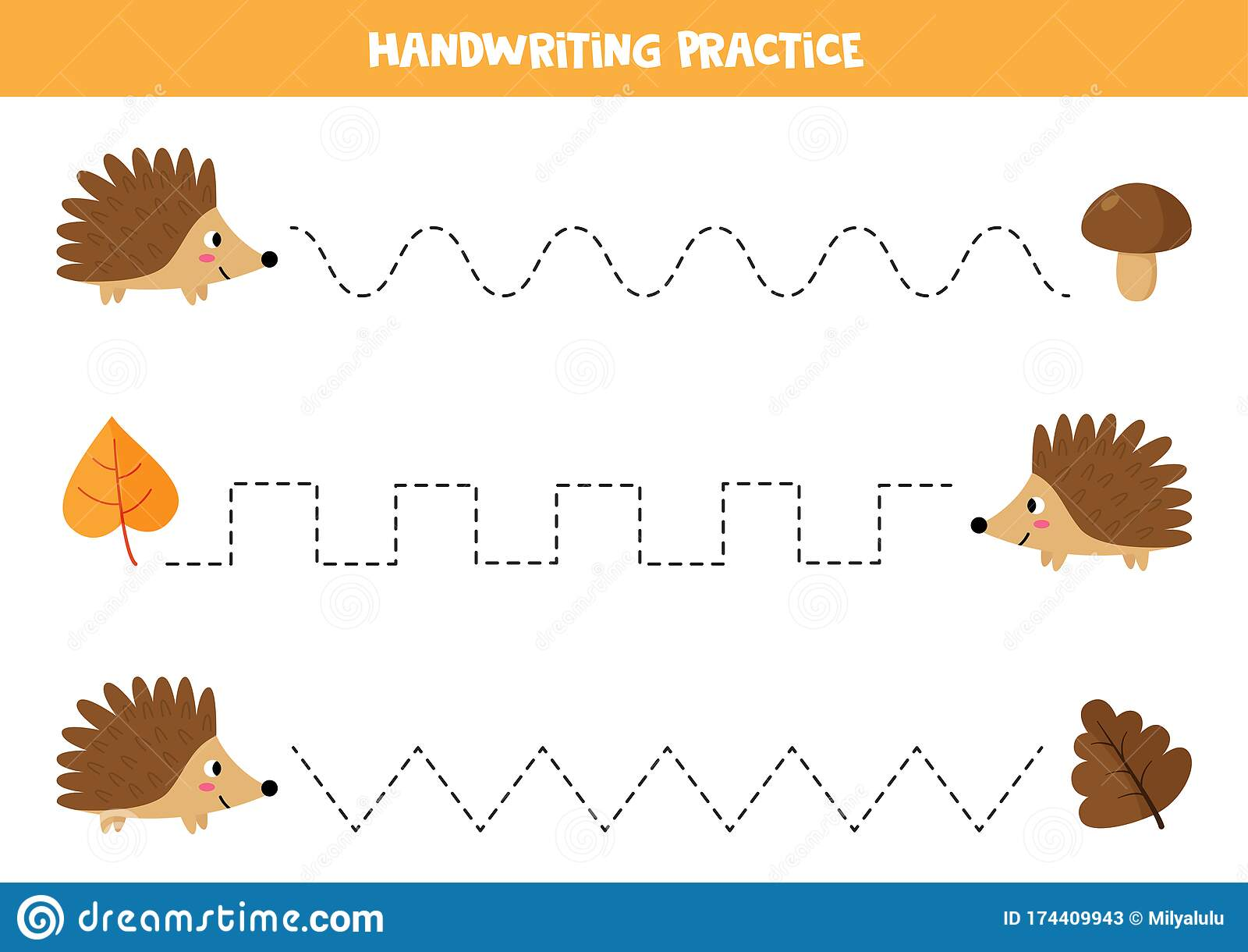 Trace The Lines Between Hedgehog And Its Leaves Worksheet