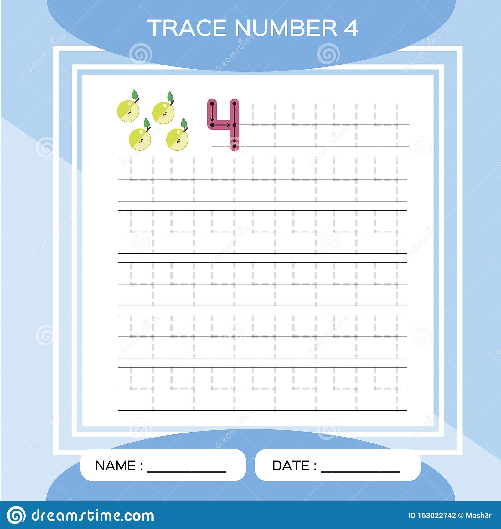 Trace Number 4 Four Children Educational Game Kids