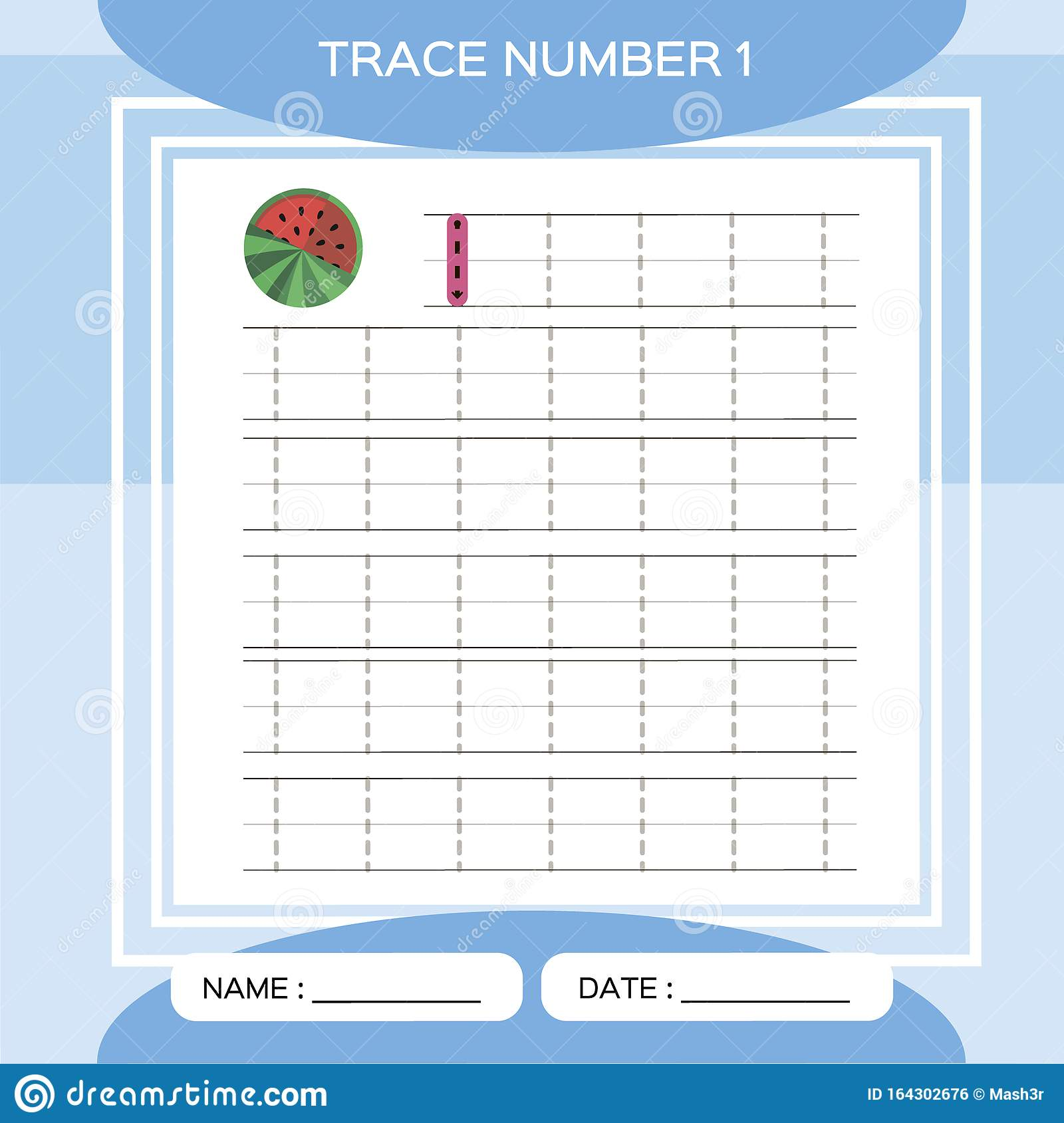 Trace Number 1 One Children Educational Game Kids