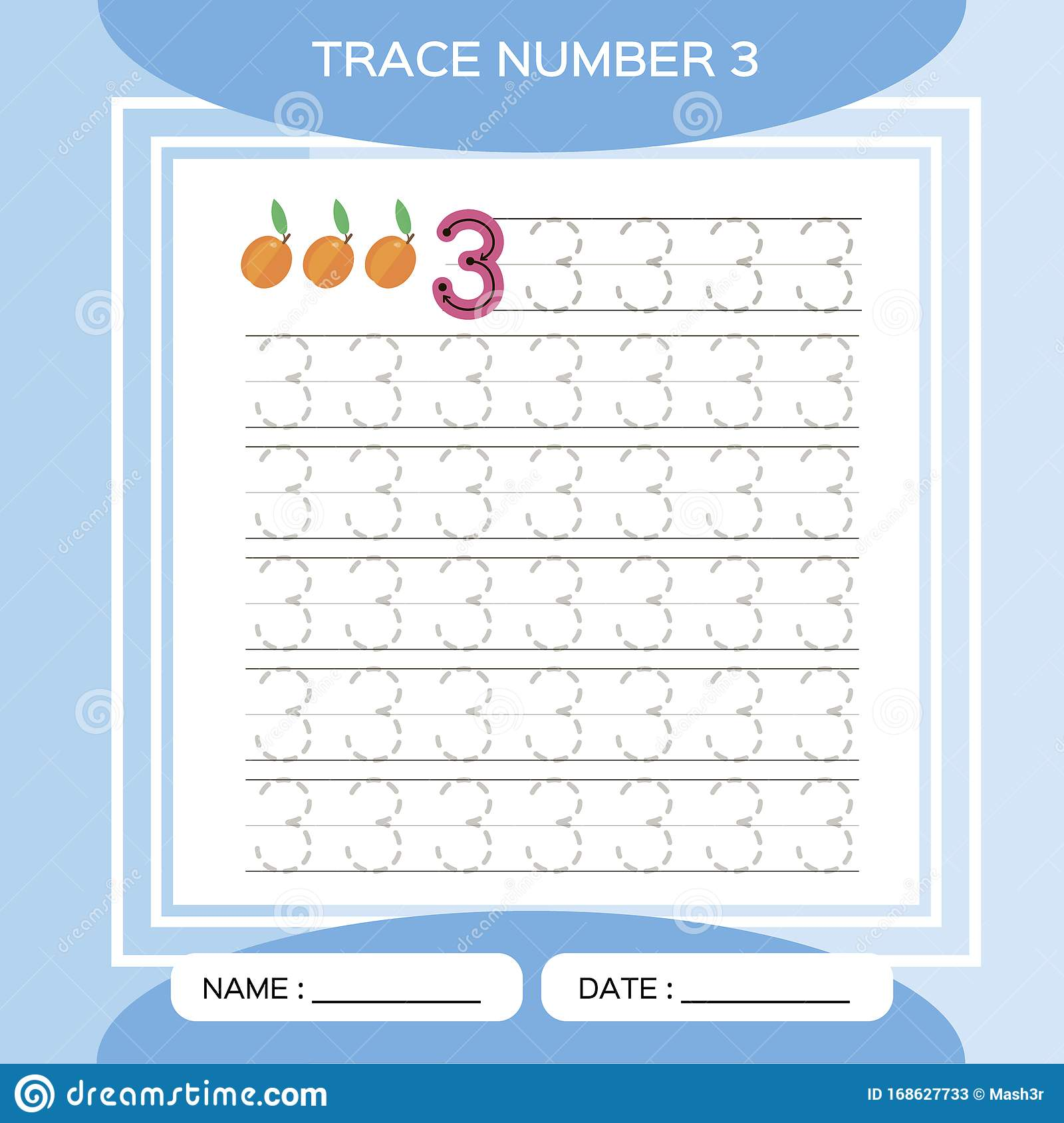 Trace Number 3 Three Children Educational Game Kids