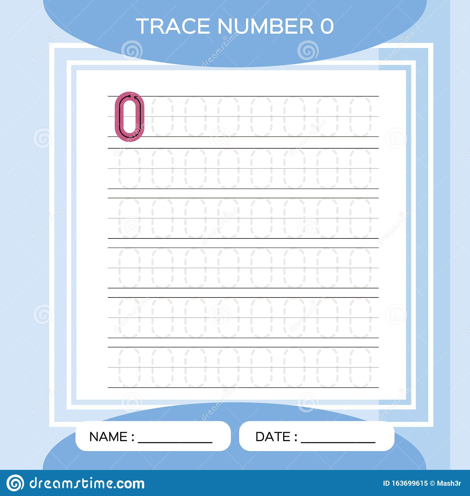 Trace Number 0 Zero Children Educational Game Kids