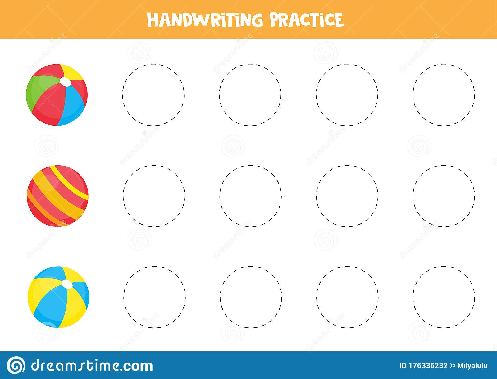 Trace The Outlines Of Colorful Toy Balls Educational