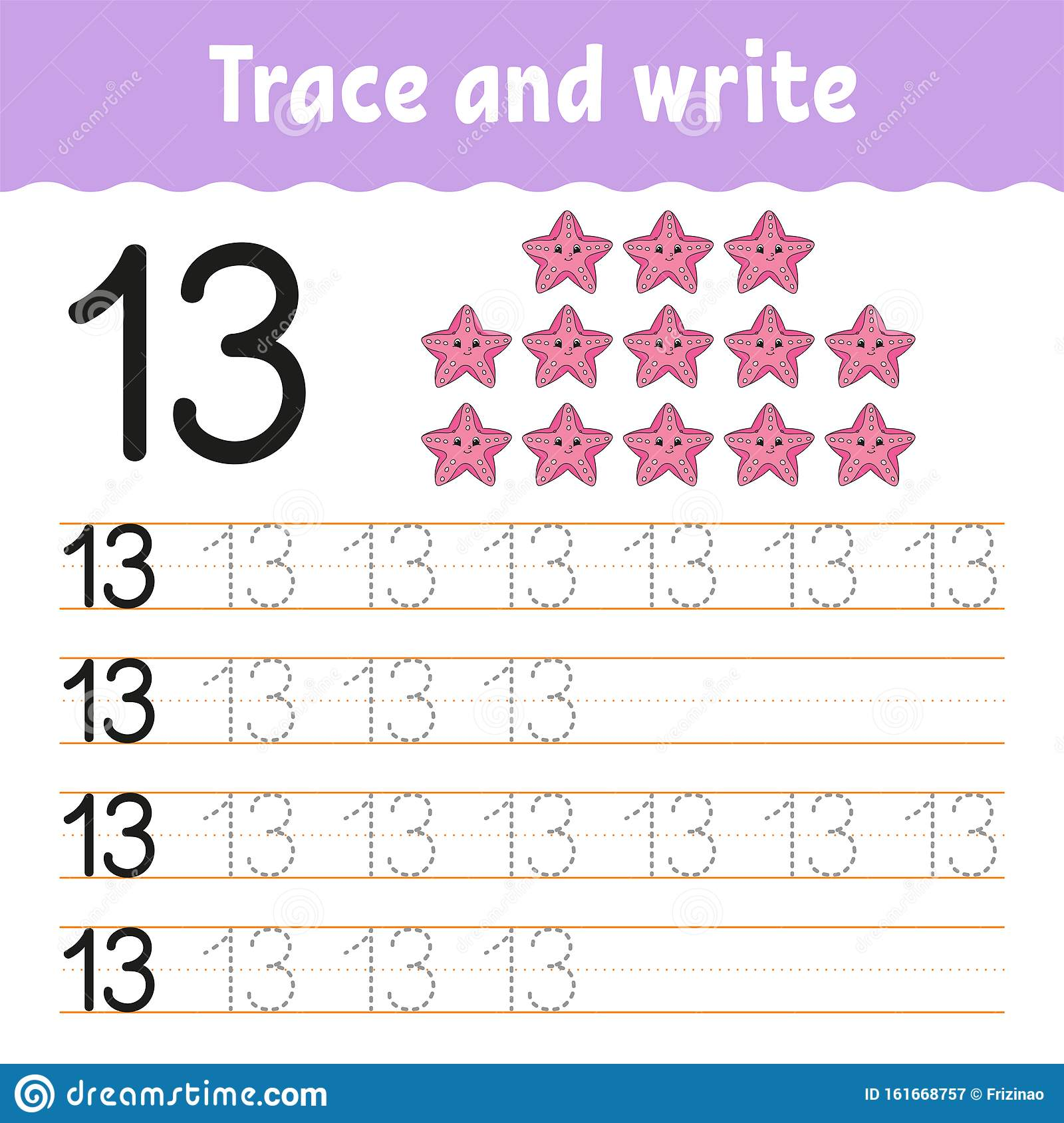 Numbers Tracing Worksheet Stock Illustrations 775