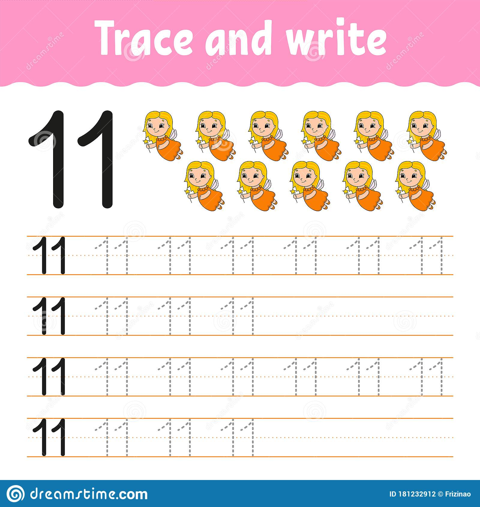 Trace And Write Number 11 Handwriting Practice Learning