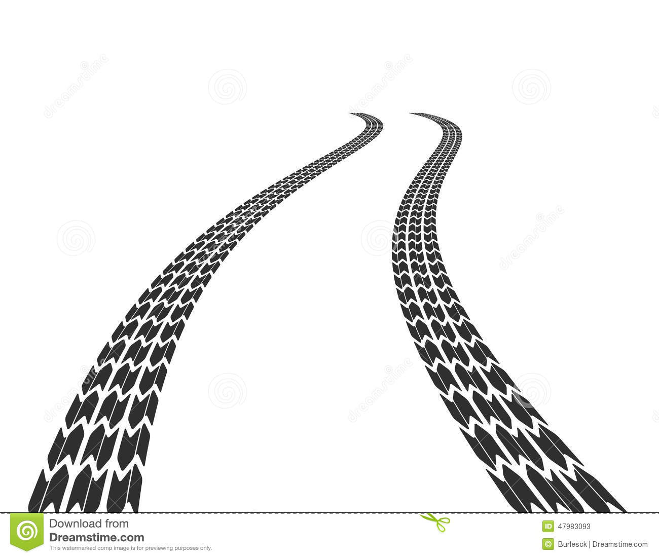 Traces Of Tires On Road Stock Vector