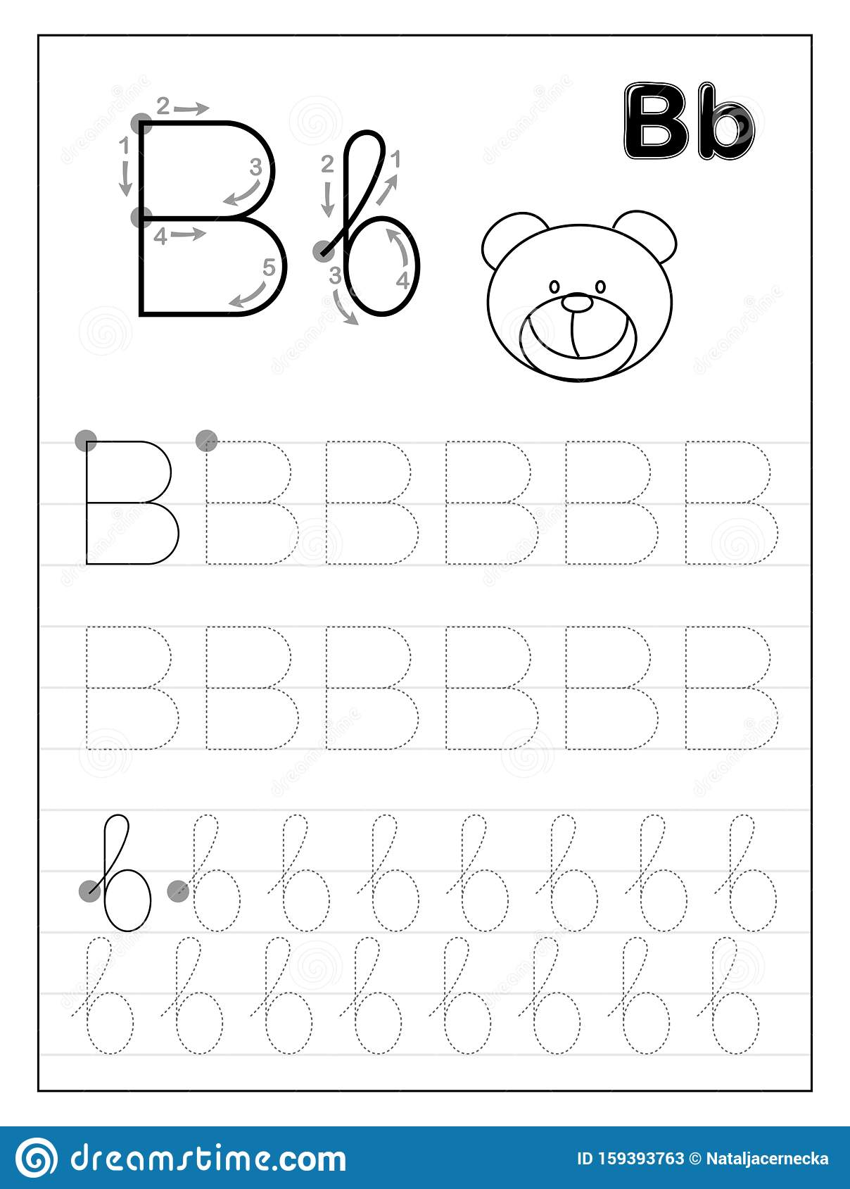 Tracing Alphabet Letter B Black And White Educational