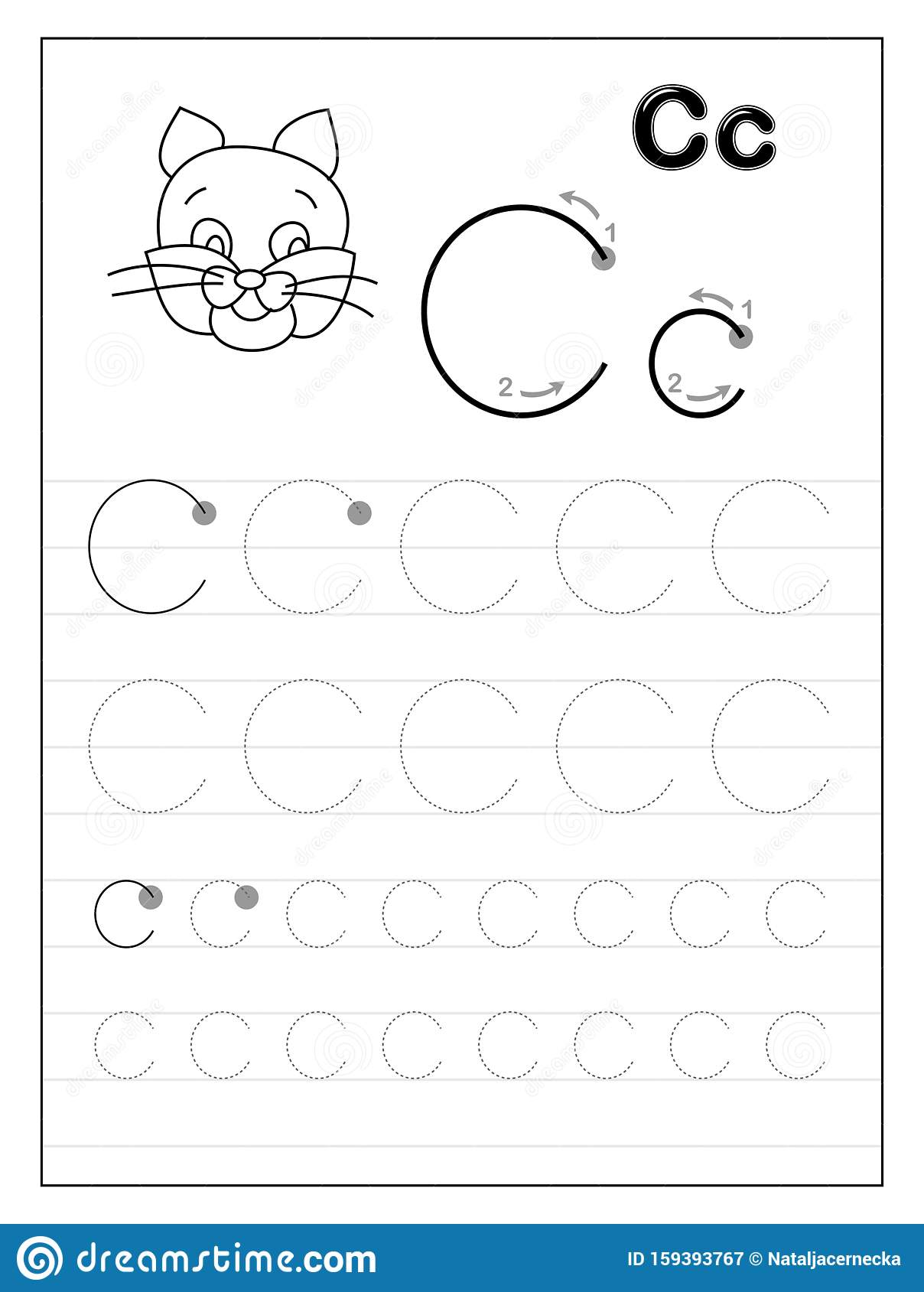 Tracing Alphabet Letter C Black And White Educational