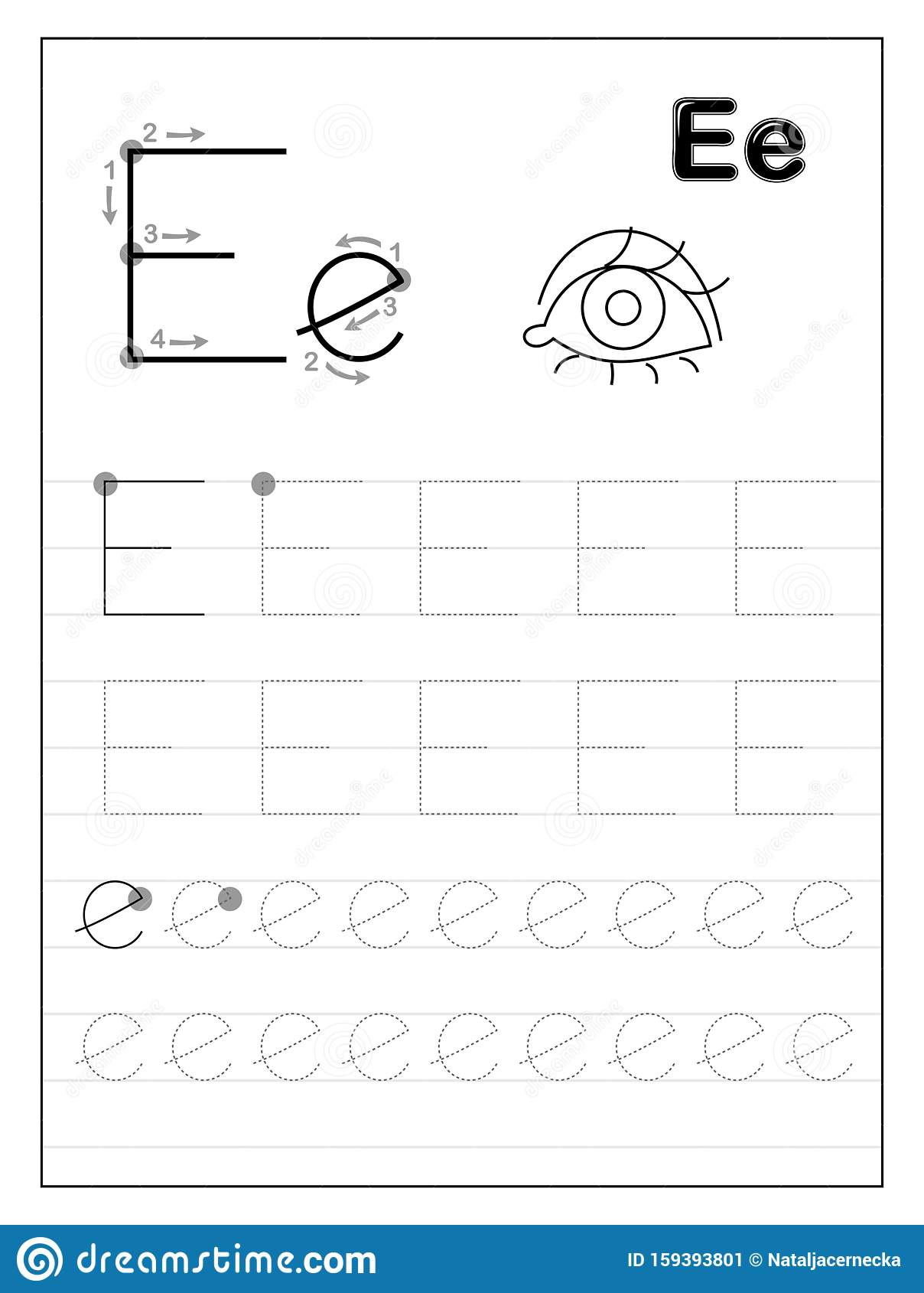 Tracing Alphabet Letter E Black And White Educational