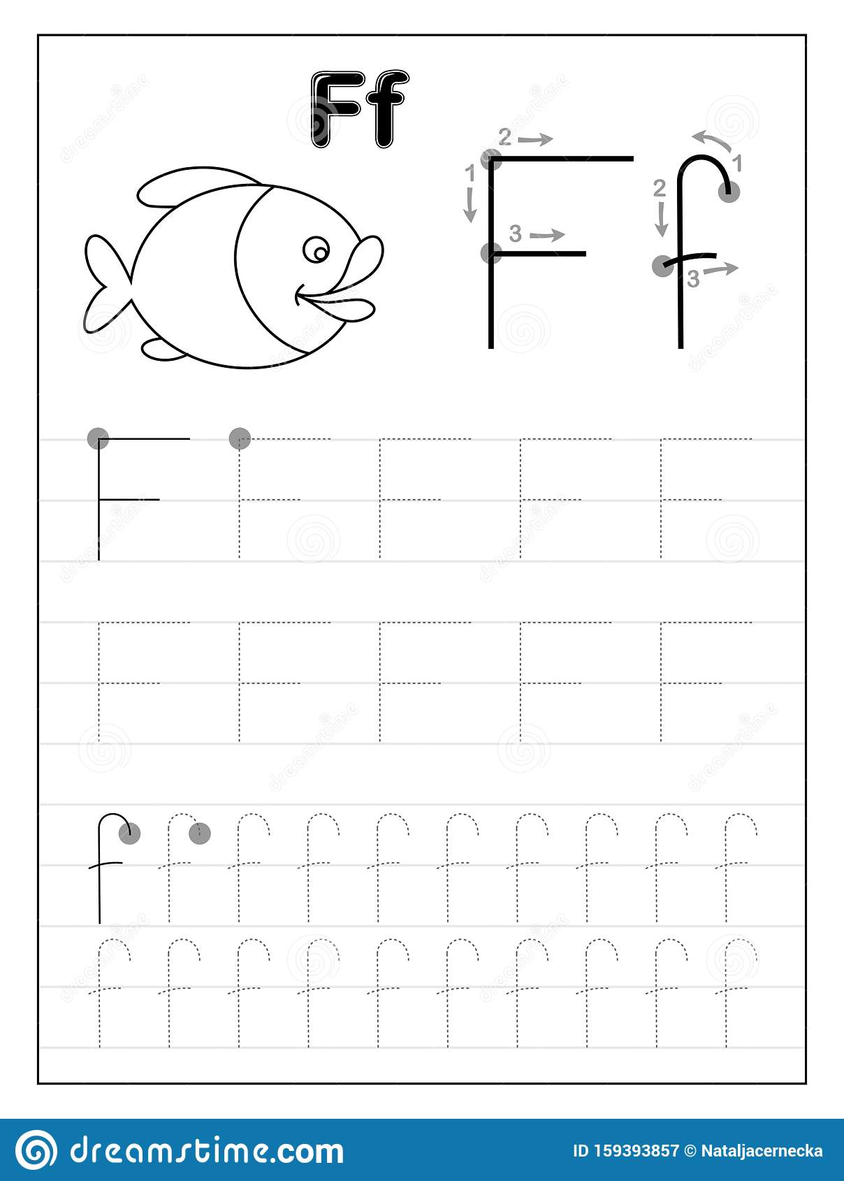 Tracing Alphabet Letter F Black And White Educational