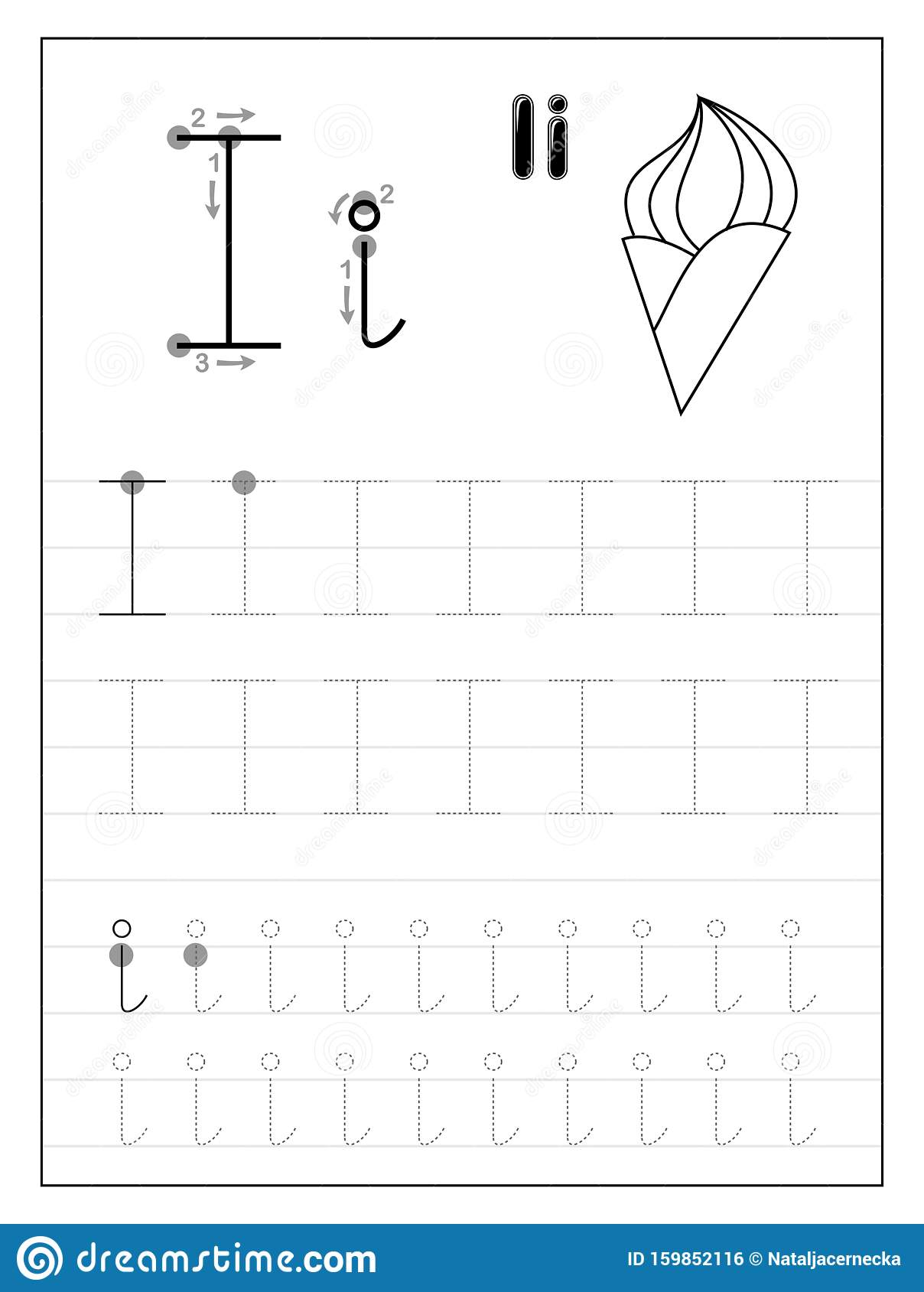 Tracing Alphabet Letter I Black And White Educational
