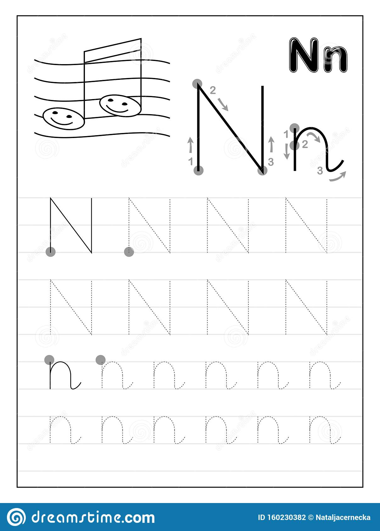 Tracing Alphabet Letter N Black And White Educational