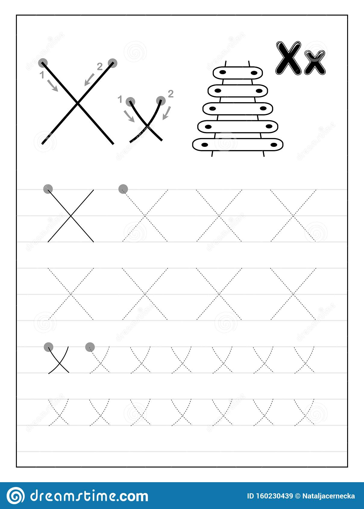 Tracing Alphabet Letter X Black And White Educational