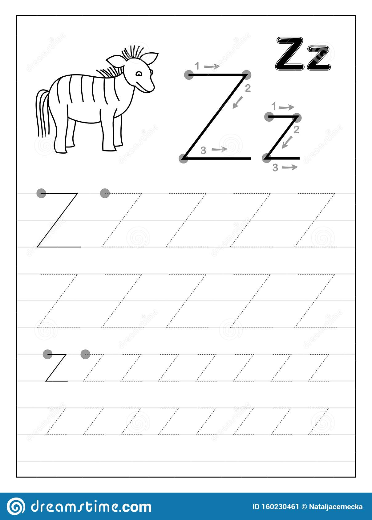 Tracing Alphabet Letter Z Black And White Educational