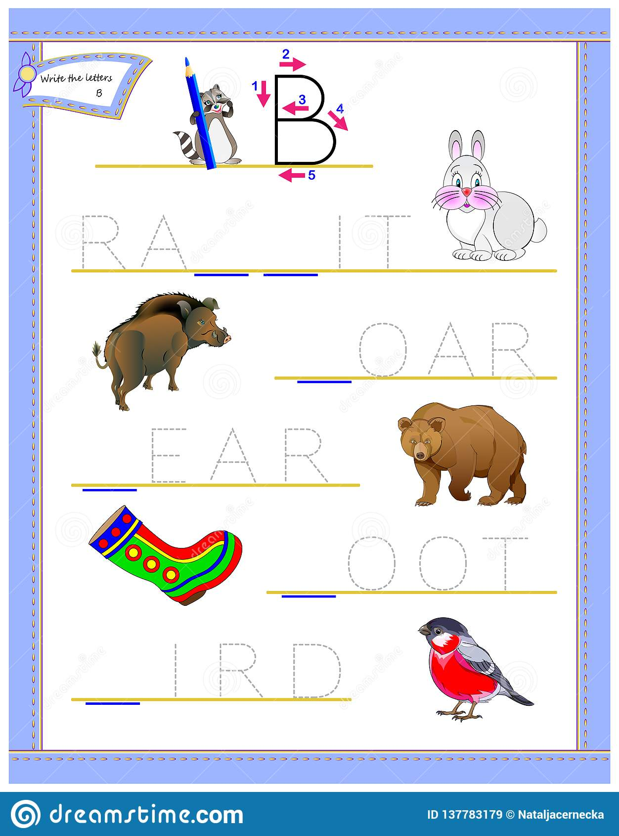 Tracing Letter B For Study English Alphabet Printable