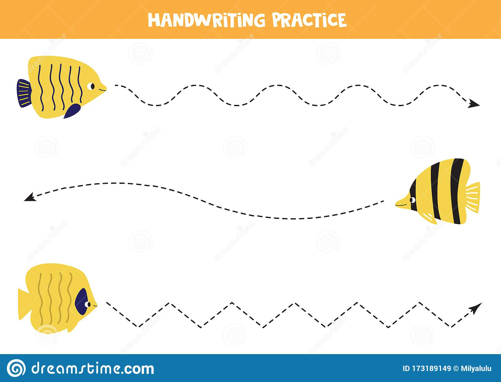 Tracing Line With Different Yellow Sea Fish Worksheet For