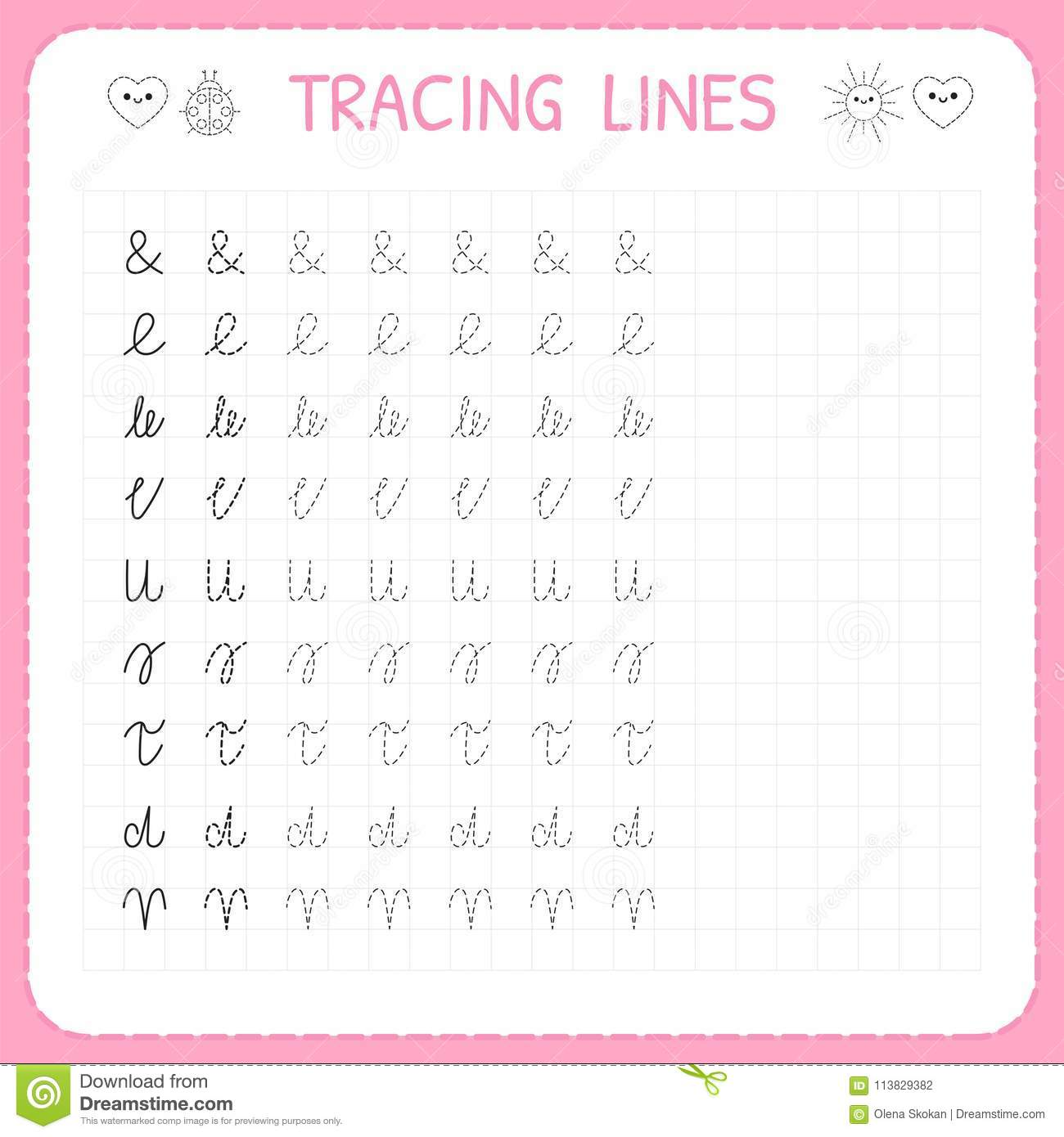 Tracing Lines Basic Writing Worksheet For Kids Working Pages For Children Preschool Or