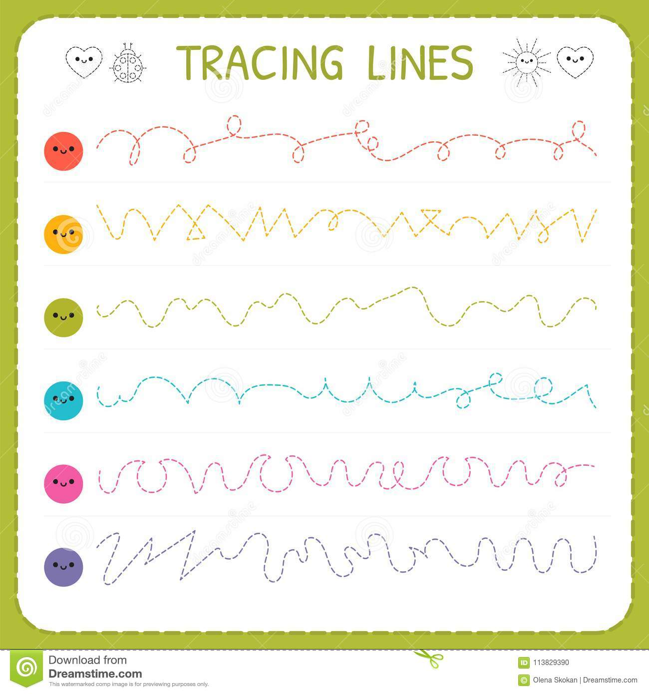 Tracing Lines Basic Writing Worksheet For Kids Working