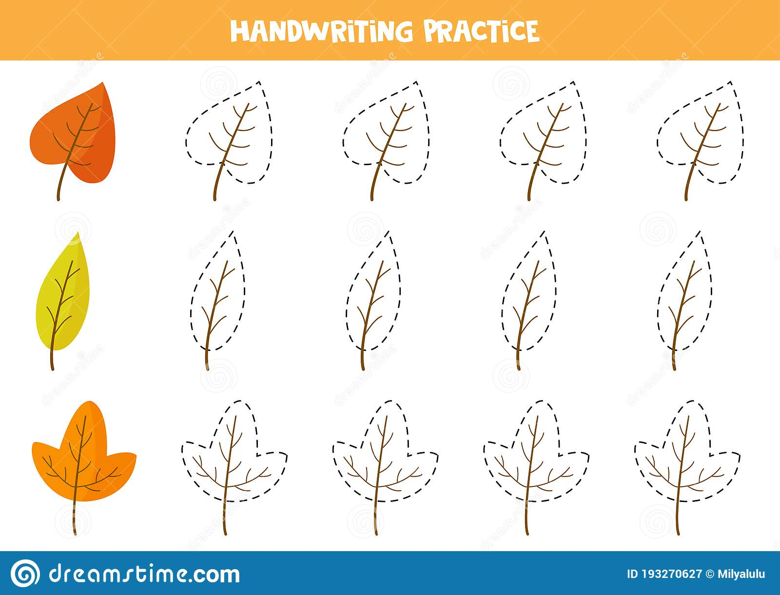 Trace Contours Of Autumn Leaves Educational Worksheet